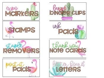 Teacher Toolbox Labels (Flamingos & Cactus)