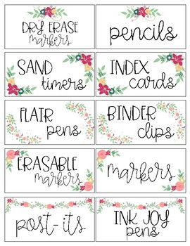 Teacher Toolbox Labels and Editable Labels: Floral Theme