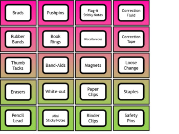 Teacher Toolbox Labels - Fuchsia Lime Watercolor Style