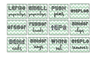 Teacher Toolbox Labels {Green Chevron}