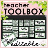 Teacher Toolbox Labels   Green Floral   Editable