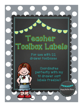 Teacher Toolbox Labels-Grey with White Dots