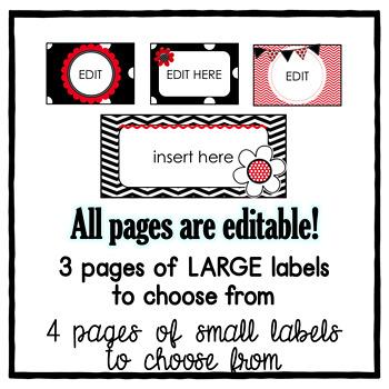 Teacher Toolbox Labels ~ Ladybug Theme Editable