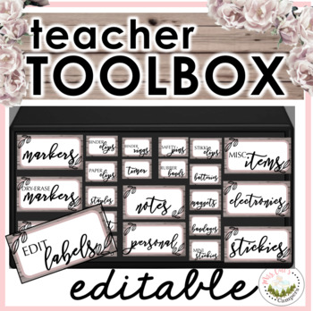 Teacher Toolbox Labels (Natural/Wooden Theme)