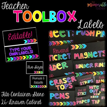 Teacher Toolbox Labels- Neon on Black
