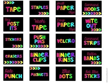 Teacher Toolbox Labels- Neon on Black
