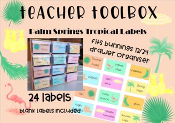 Teacher Toolbox Labels - Palm Springs Tropical Theme