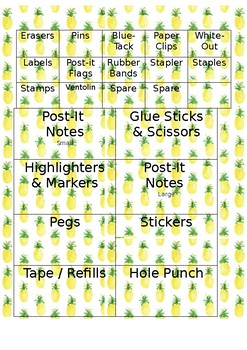 Teacher Toolbox Labels (Pineapple Theme)