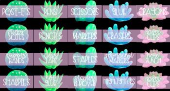 Teacher Toolbox Labels Cactus/Succulent Theme (Black)  Editable