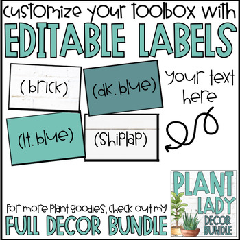 Teacher Toolbox Labels | Plant Classroom Decor | Succulent