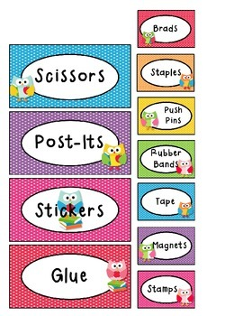 Teacher Toolbox Labels - Polka Dot Owl Theme