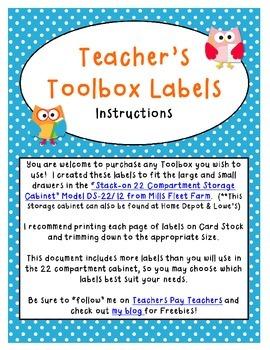 Teacher Toolbox Labels - Polka Dot Owl Theme