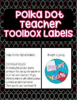 Teacher Toolbox Labels {Polka Dots}