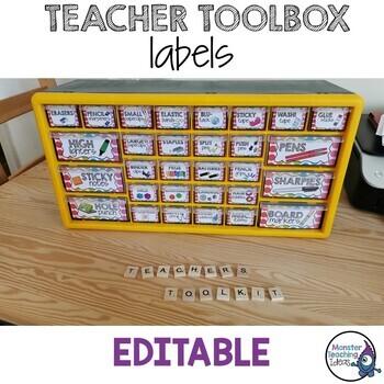 Teacher Toolbox Labels - Editable (Rainbow Pop Theme)