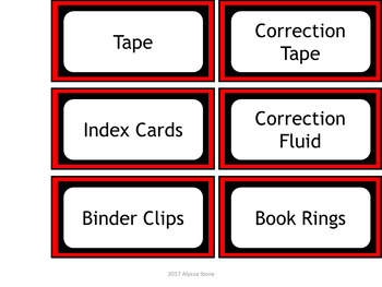 Teacher Toolbox Labels - Red