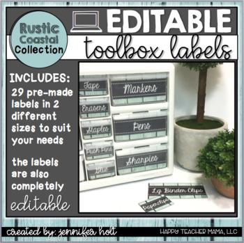 EDITABLE Teacher Toolbox Labels {Rustic Coastal}