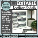 EDITABLE Farmhouse Teacher Toolbox Labels (Rustic Coastal)