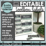 EDITABLE Teacher Toolbox Labels {Rustic Coastal}