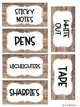 Teacher Toolbox Labels- Rustic Theme