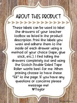 Teacher Toolbox Labels- Rustic Theme {Editable Parts}