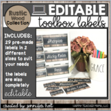 EDITABLE Farmhouse Teacher Toolbox Labels (Rustic Wood)