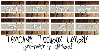 Teacher Toolbox Labels- Rustic/Wood- Pre-Made & Editable!