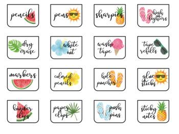Teacher Toolbox Labels - Summer Themed {EDITABLE}