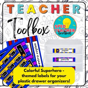 Teacher Toolbox Labels-Superhero Theme
