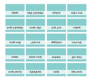 Teacher Toolbox Labels - Turquoise Chevron