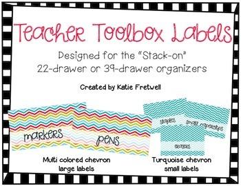 Teacher Toolbox Labels - Turquoise Chevron