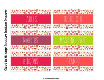 Teacher Toolbox Labels - Vintage Flowers