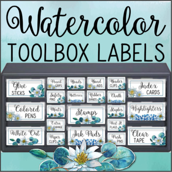 Teacher Toolbox Labels WATERCOLOR LILIES