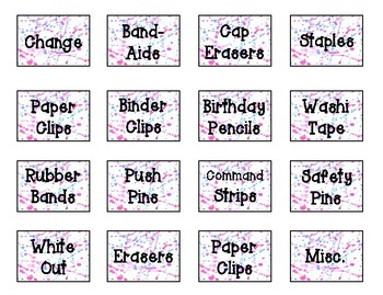 Teacher Toolbox Labels - Water Color Paint Splatter