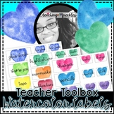Teacher Toolbox Labels | Watercolor Hearts | FREEBIE