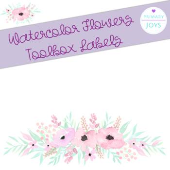 Teacher Toolbox Labels - Watercolor Flowers