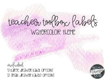 Teacher Toolbox Labels {Watercolor Theme}