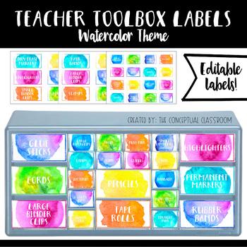 Teacher Toolbox Labels Watercolor Theme Decor EDITABLE TpT