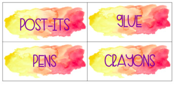 Teacher Toolbox Labels Watercolor Theme EDITABLE