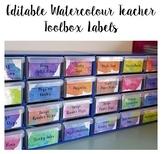 Teacher Toolbox Labels Watercolour - Editable