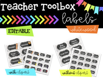 Teacher Toolbox Labels || Whitewood || EDITABLE