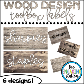 Teacher Toolbox Labels - Wood Design