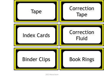Teacher Toolbox Labels - Yellow
