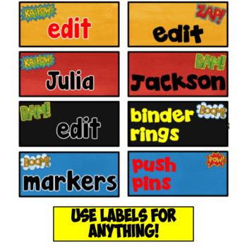 Teacher Toolbox Labels and Sterilite Drawer Labels~ Superhero Theme ~ Editable