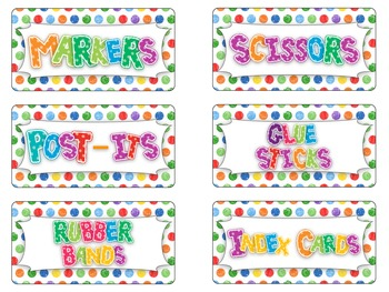 Teacher Toolbox Labels!! (colorful polka dots and solids)