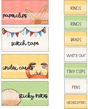 Teacher Toolbox Labels {editable} Seashore