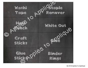 Teacher Toolbox Labels in Plain Chalkboard Theme