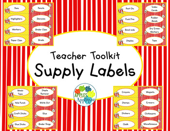 Teacher Toolbox Labels EDITABLE in Popcorn Theme