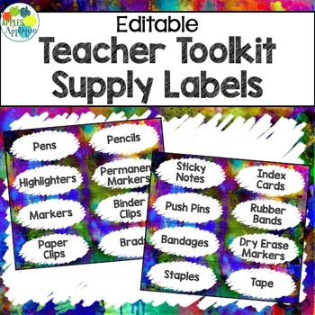 Teacher Toolbox Labels EDITABLE in Watercolor Theme
