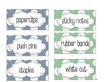 Teacher Toolbox Labels: supplies and picture communication