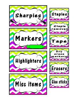 Teacher Toolbox Organization Labels